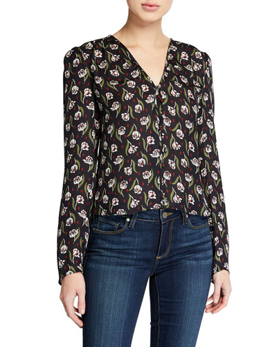 Ashville Floral V-Neck Long-Sleeve Silk Blouse