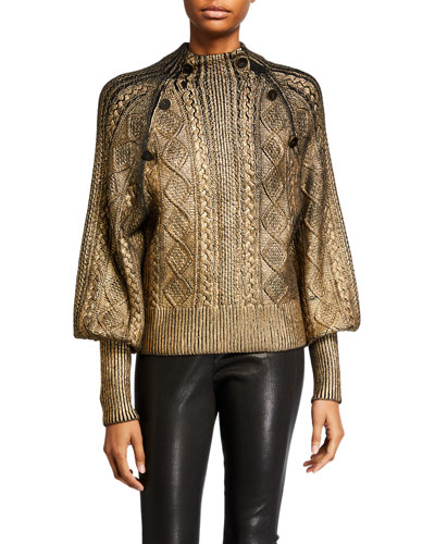 Grady Bishop-Sleeve Metallic Sweater