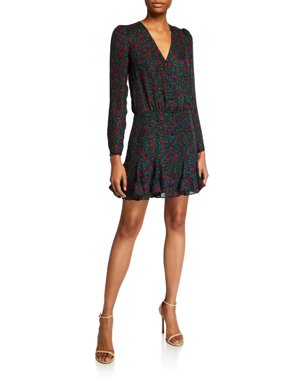 Veronica Beard Dresses RIGGINS LONG-SLEEVE FLORAL FLOUNCE DRESS