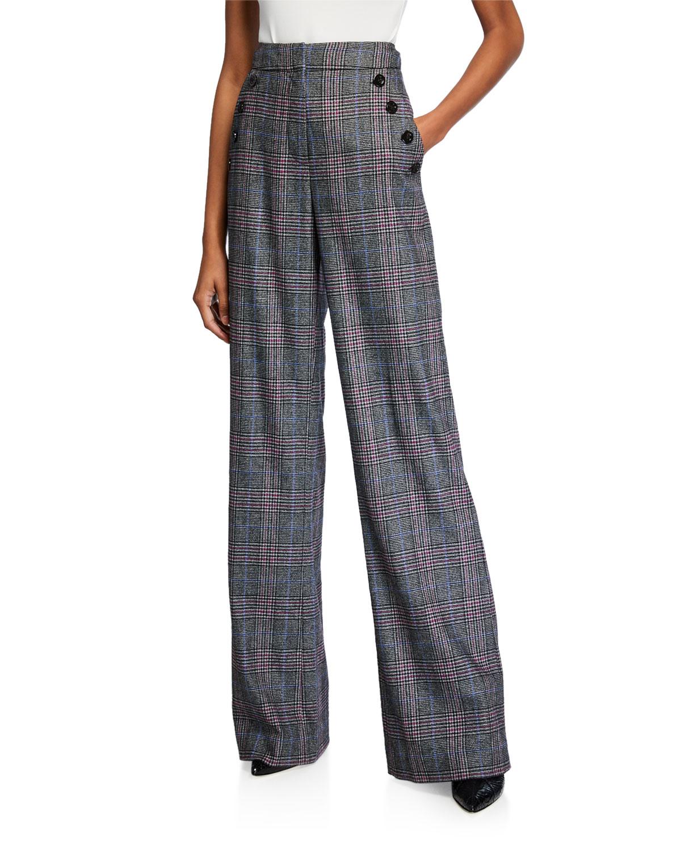 Veronica Beard Pants TULI HIGH-RISE GLEN CHECK PANTS