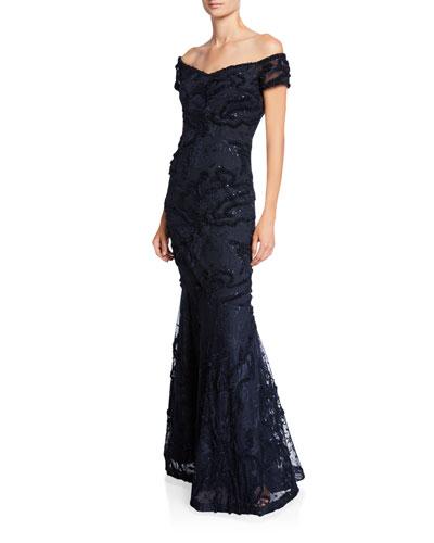 Off-the-Shoulder Sequin Mermaid Gown