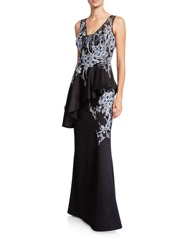 Embroidered Floor-Length Peplum Gown