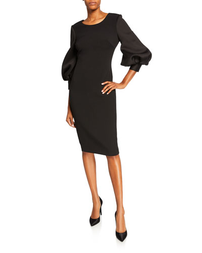 Bubble-Sleeve Sheath Dress