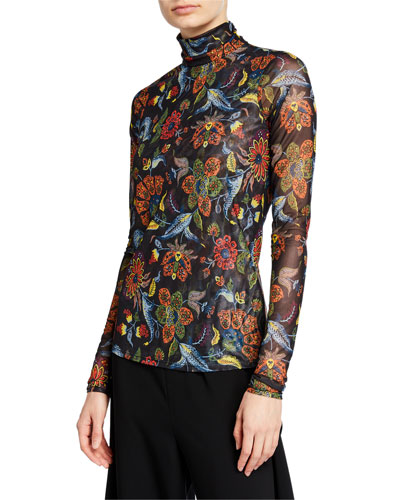 Paisley Long-Sleeve Turtleneck Top