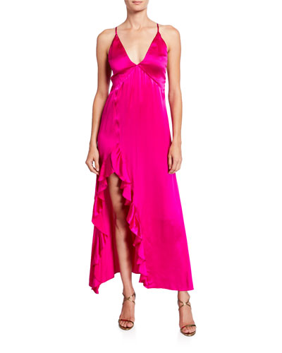 Getaway V-Neck Cross-Back Satin Slip Dress w/ Ruffled Slit