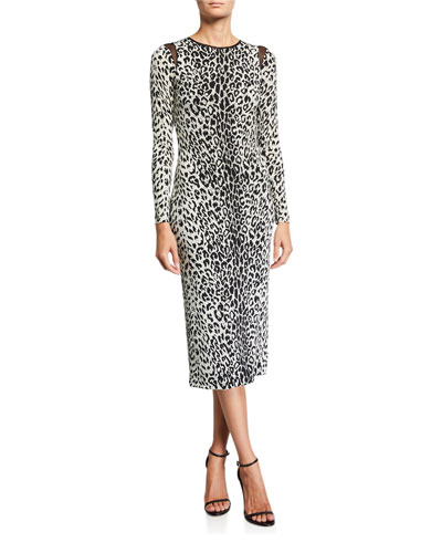Kate Leopard-Print Long-Sleeve Wrap Dress