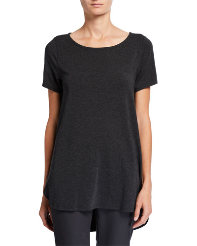 Petite Short-Sleeve High-Low Lyocell Top