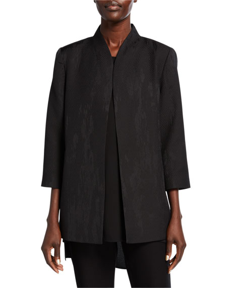 Eileen Fisher Erased Diamond Jacquard 3/4-Sleeve Jacket