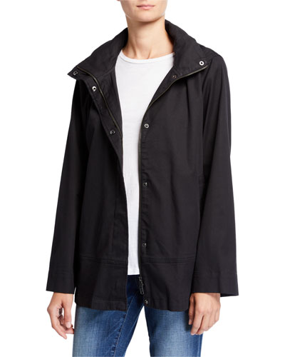 Petite Organic Cotton Twill A-Line Coat w/ Removable Hood