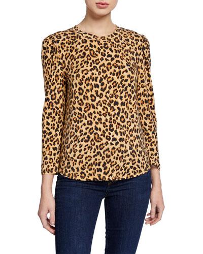 Porter Leopard-Print Puff-Sleeve Tee