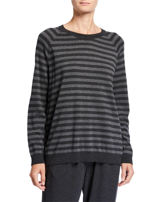 Eileen Fisher Sweaters PLUS SIZE STRIPED LONG-SLEEVE COZY SWEATER