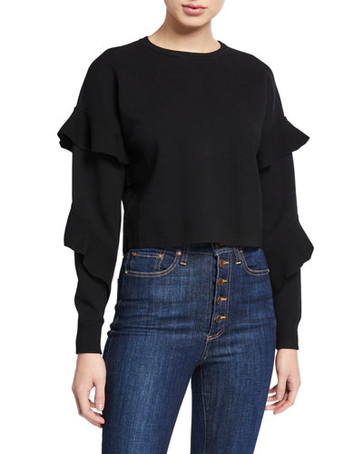 Nettie Ruffle-Sleeve Crewneck Sweater
