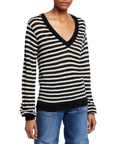 Sutton Striped V-Neck Wool Sweater