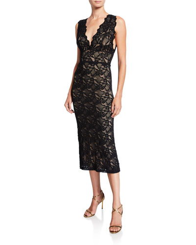 Wisteria V-Neck Sleeveless Lace Midi Dress