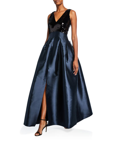Claire V-Neck Sleeveless Sequin-Bodice Ball Gown