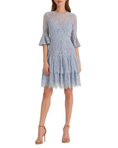 Corded Floral Lace Bell-Sleeve Ruffled Tiered Skirt Dress