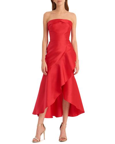 Strapless High-Low Midi Dress with Asymmetrical Skirt