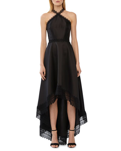 High-Low Lace-Trim Mikado Halter Gown