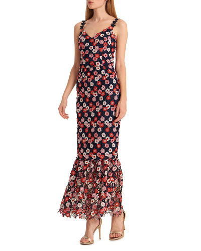 Floral Lace Spaghetti-Strap Dress with Ruffled Hem