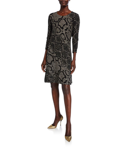 Petite Snake-Print 3/4-Sleeve Ottoman Knit Dress