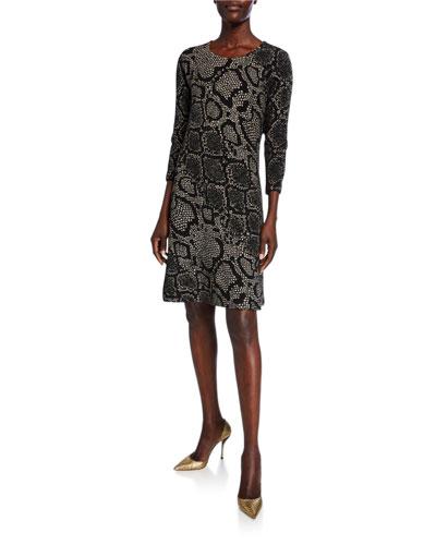 Snake-Print 3/4-Sleeve Ottoman Knit Dress