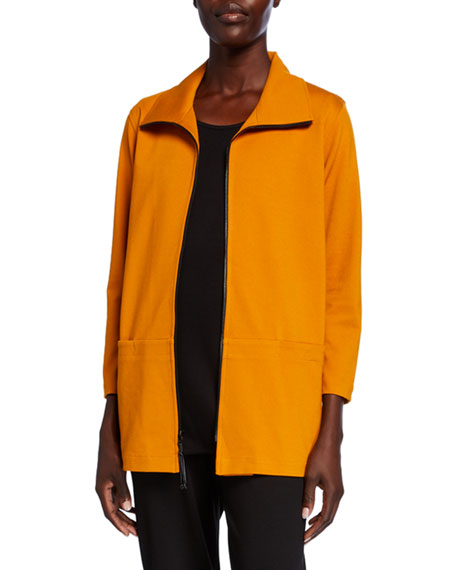 Eileen Fisher Organic Cotton Channel Stand Collar Button