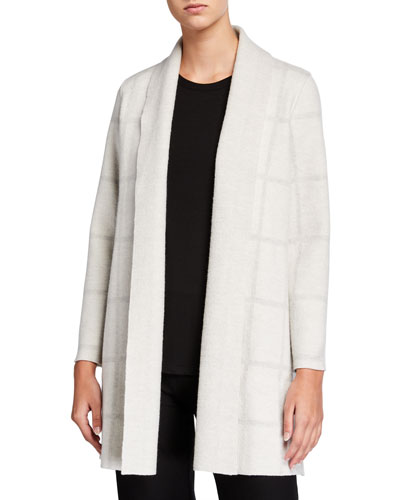 Windowpane Wool Shawl-Collar Cardigan