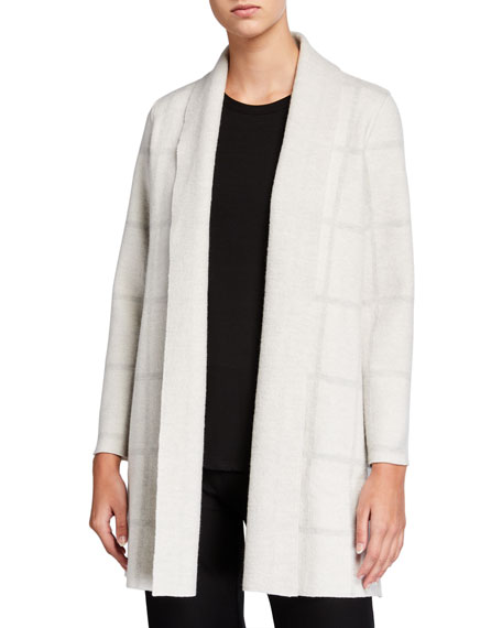 Eileen Fisher Windowpane Wool Shawl-Collar Cardigan