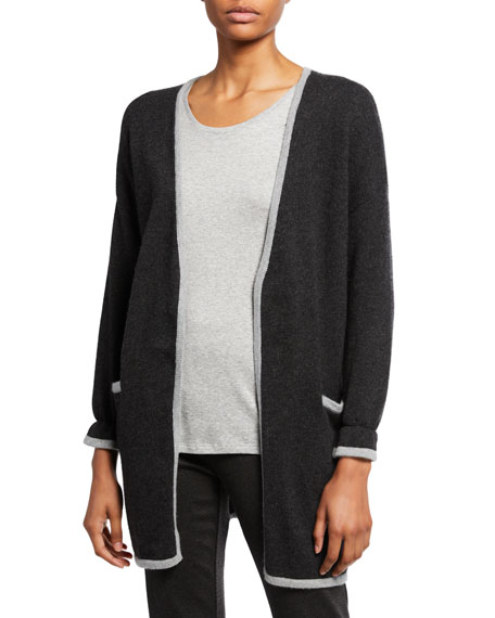 Eileen Fisher Merino Wool Jersey Edged Long-Sleeve Cardigan