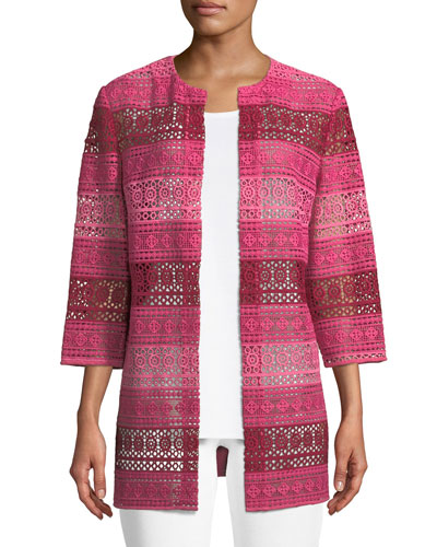 Petite Lace Topper Jacket with Knit Back