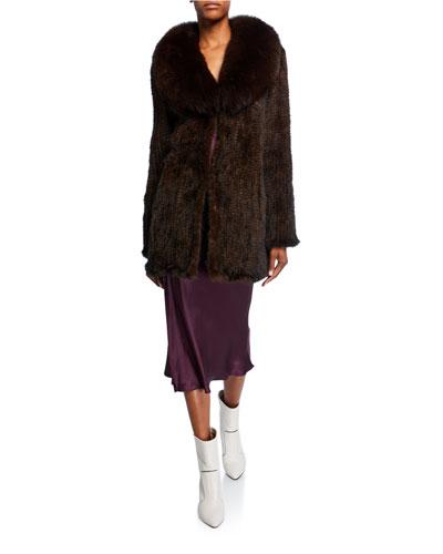 Long Mink Fur Wrap Coat w/ Fox Fur Trimming