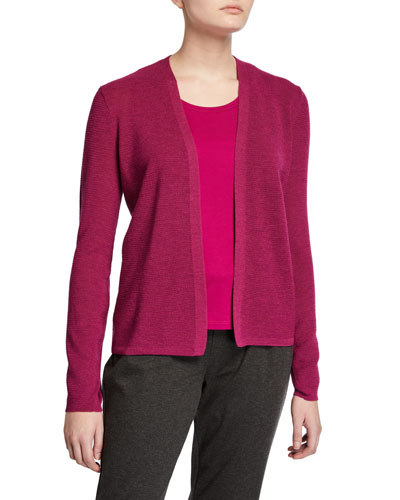 Wool Crepe Sleeve Detail Cardigan