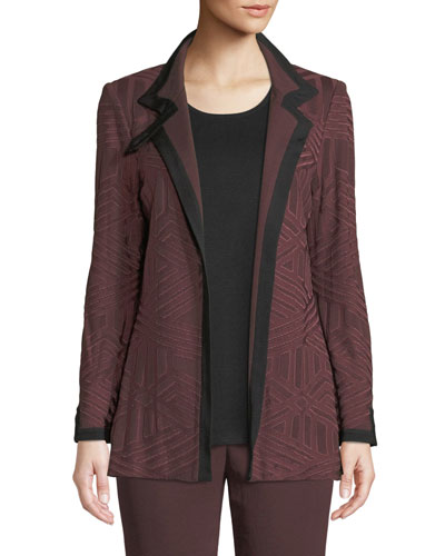 Petite Textured Knit Jacket w/ Border Trim