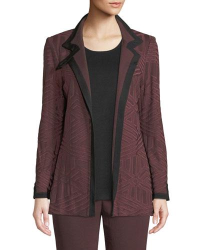 Petite Textured Knit Jacket w/ Border Trim