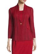 Misook Subtly Sheer Textured Single-Button Jacket