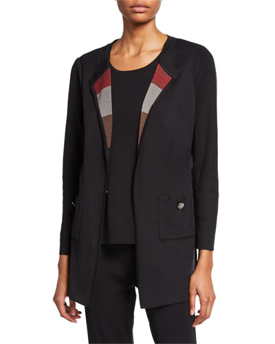 Plus Size Easy Jacket with Striped Scarf Lapel