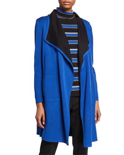 Contrast Trim Open-Front Long Jacket