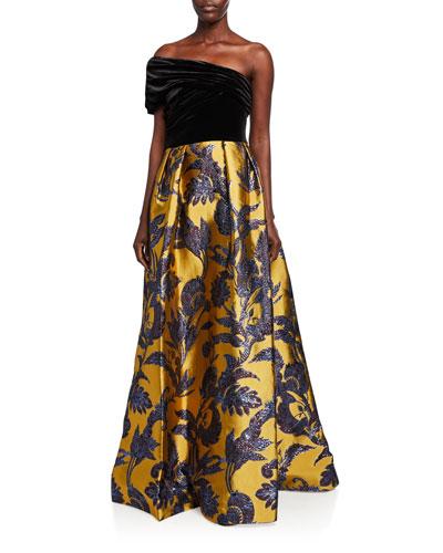 One-Shoulder Velvet Bodice & Silk Lame Jacquard Skirt Gown