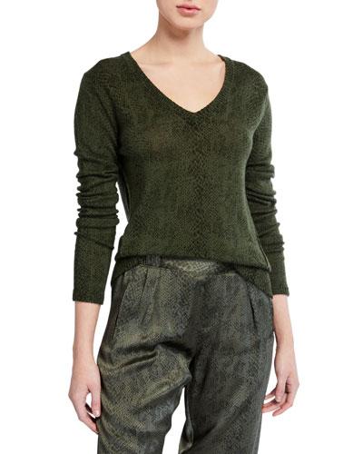 Snake-Print V-Neck Sweater