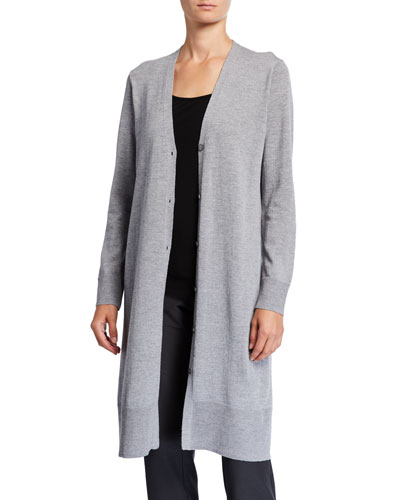 Washable Wool Crepe V-Neck Button-Front Long Cardigan