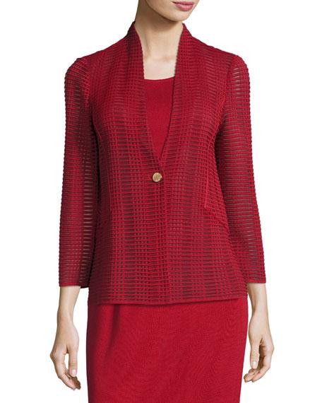 Misook Plus Size Subtly Sheer Textured Single-Button Jacket