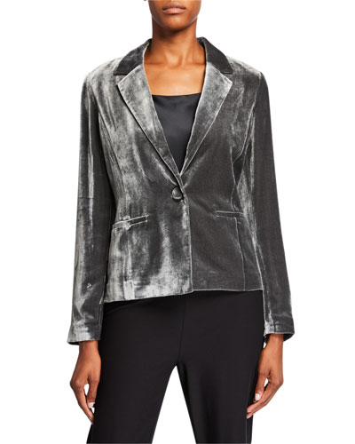One-Button Velvet Shaped Jacket