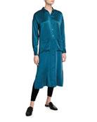 Eileen Fisher Long Sandwash Silk Charmeuse Shirtdress and