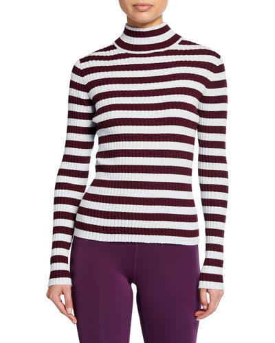 Striped Ribbed Turtleneck Top