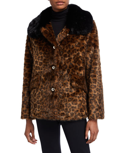 long-sleeve faux fur leopard coat