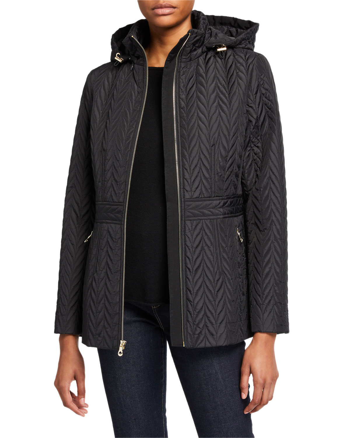 Kate Spade Jackets QUILTED CHEVRON FUNNEL-NECK MIDI JACKET