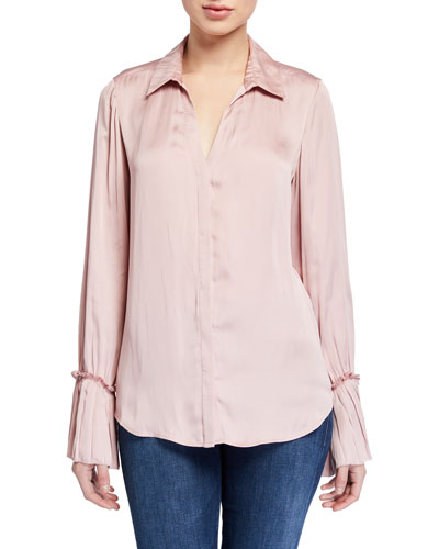 Abriana Satin Long-Sleeve Shirt