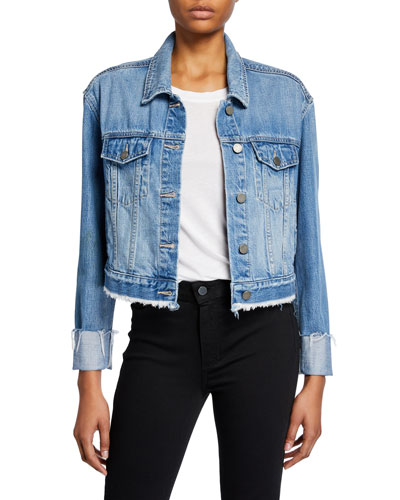 Jo Jo Cropped Denim Jacket w/ Raw Hem