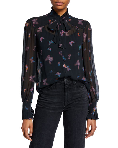 Leonetta High-Neck Silk Butterfly Blouse