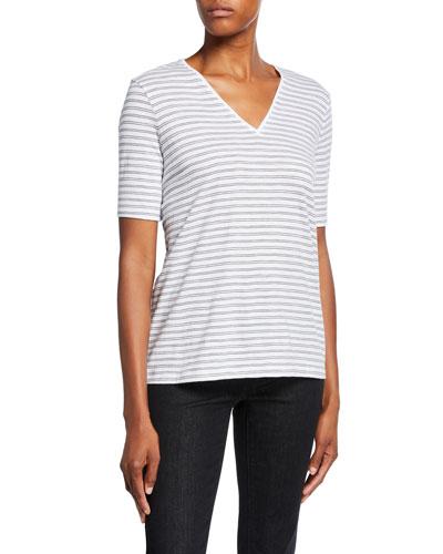 Plus Size Striped V-Neck Short-Sleeve Organic Cotton Slub Tee